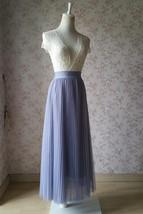 Gray Full Long Pleated Skirt Women High Waisted Gray Pleated Tulle Maxi Skirt  image 2