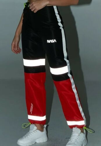 Forever 21 NASA Reflective Joggers Jogging Sweat Pants Red Black Size S NEW image 2