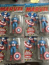 Lot Of 4 Marvel Captain America Action Figure Moc New 1990 w/ Sheild Launcher - $74.24