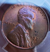1937 D PCGS MS63 LINCOLN WHEAT CENT *  TONING * 068 - $73.50