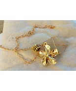 Golden Flower necklace: white Hawaiian sea glass set in golden wirework - $34.00