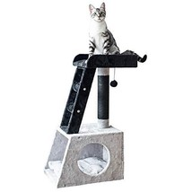 "Catry 31"" Grey and White Ladder Cat Tree with Paper Rope Covered Scratch... - £37.95 GBP"