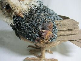 2 Owl Bird Figures Sisal Fiber Straw & Wood Vtg Figurines Natural Dried Rustic image 5