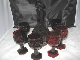 Avon Ruby Red Cape Cod Decanter And 6 Wine Glasses - $15.00