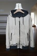 Brunello Cucinelli Reversible Jacket Monili Trim Zip Gray Ivory Size IT... - $866.25
