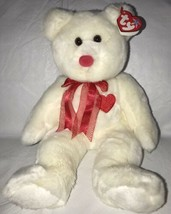 Ty Large Plush Beanie Buddy Valentino the Bear  MWMT Red Heart White Ted... - $11.87