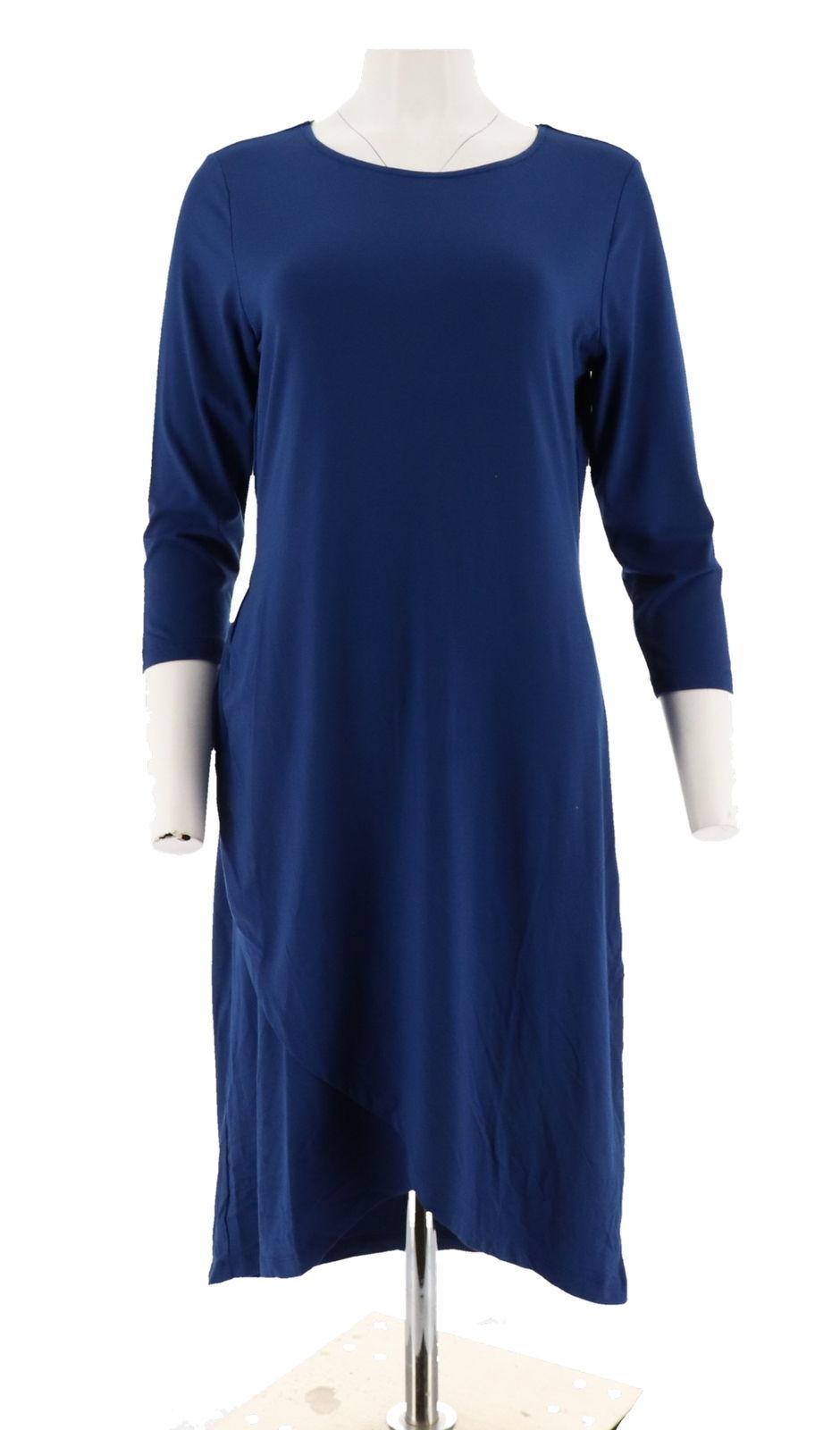Halston 3/4 Slv Draped Front Crewneck Hi-Low Hem Dress Royal Blue XS NEW A280164
