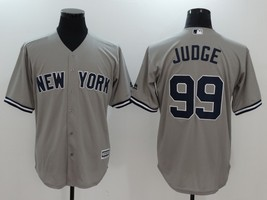 Aaron Judge #99 Gray New York Yankees Majestic MLB Jersey, Last Name on Back - $37.99