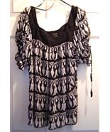 Women's Size 14 Nicole by Nicole Miller Sheer Black White Short Sleeve B... - $12.99