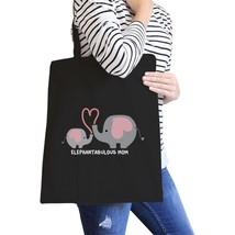 Elephantabulous Mom Black Canvas Tote Bag Eco-Friendly Washable - $15.99