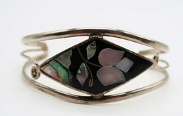 Vtg silver tone cuff bracelet black enamel & abalone geometric floral de... - $14.99