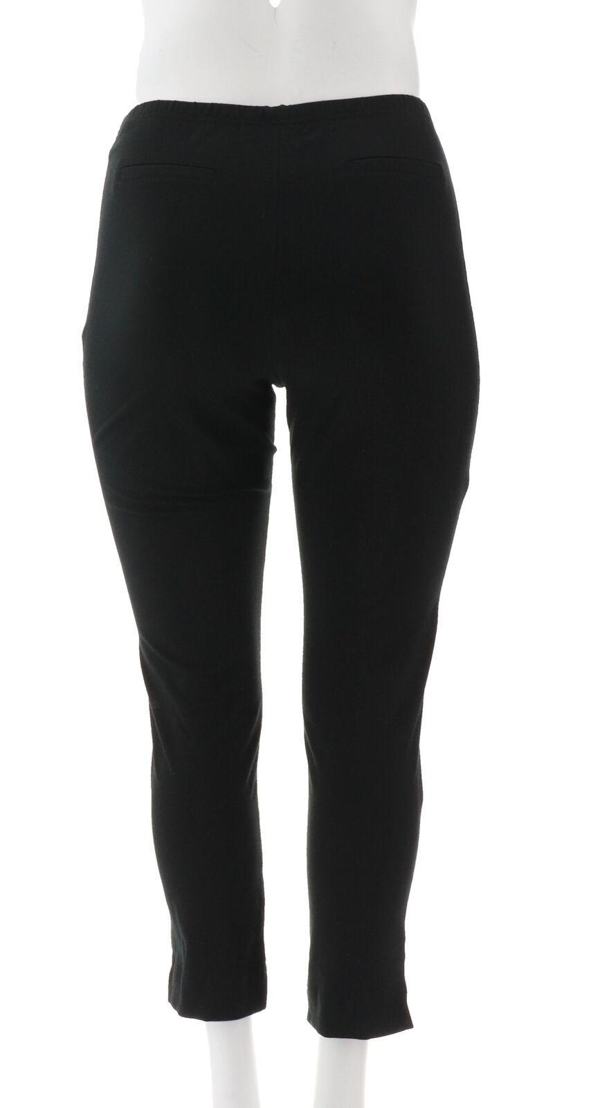 Women with Control Petite Slim Leg Ankle Pants Black PL NEW A306481