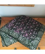 Estate Made in India Dark Olive Green w Pink & Cream Hippie 100% Silk Wo... - $20.35