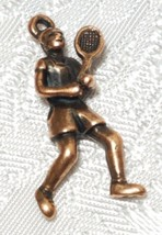 MALE TENNIS PLAYER FINE PEWTER PENDANT CHARM - 13mm L x 26mm W x 5mm D image 1