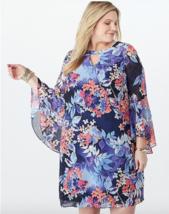 Dress Barn Plus size 20W Chiffon Bell Sleeve dress Versatile Relaxed Fit 20 - $32.47