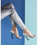 Ysl Yves Saint Laurent Ivory Opyum Pumps Sandals Ankle Strap Shoes 38.5 ... - $489.00