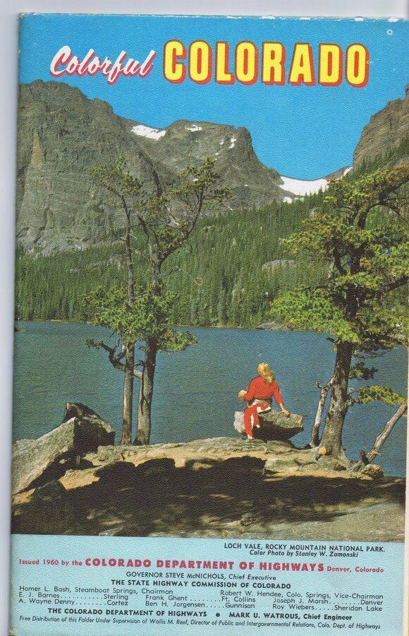 Primary image for ORIGINAL Vintage 1960 Colorful Colorado Tourist Brochure Map