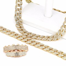 """14K Gold Plated Fully Cz Cuban Chain (20"""", 24"""" or 30"""") w/ 3 Row CZ Grillz - £31.95 GBP+"""