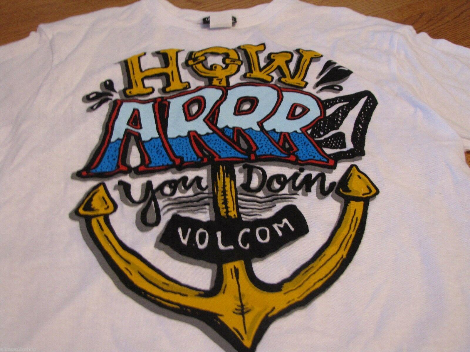 Boy's youth kids Volcom Stone t shirt HOW ARRR you doin white SPOT large L NEW
