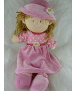 Stephan Baby rag doll plush with Pink Valour Dress and hat 14 1/2 inch - $11.87