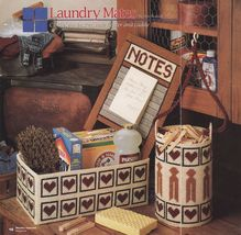 Plastic Canvas Clothespin Basket Laundry Caddy Bag Washboard Note Holder Pattern - $5.99