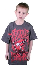Famous Stars & Straps Charcoal Heather Red War Stories Youth Kids Boys T-Shirt image 1