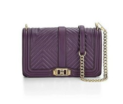 NWT Rebecca Minkoff Geo LOVE Quilted Leather Crossbody Bag AUBERGINE PUR... - $199.00