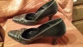 Salvatore Ferragamo Black saddle stitch pumps 8 1/2 AA Narrow fine leather - $35.00