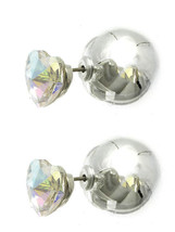 Heart Solitaire Double Sided Ball Stud Earrings AB Heart Silvertone Ball image 1