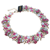 Crystal Statement Necklace (Earrings Set), Vintage Chunky Chain Choker B... - $58.52