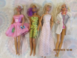 MATTEL 4 BARBIE DOLLS & CLOTHES GREEN CROPS-DR BARBIE-PINK DRESS TAGS LOT-G - $9.95