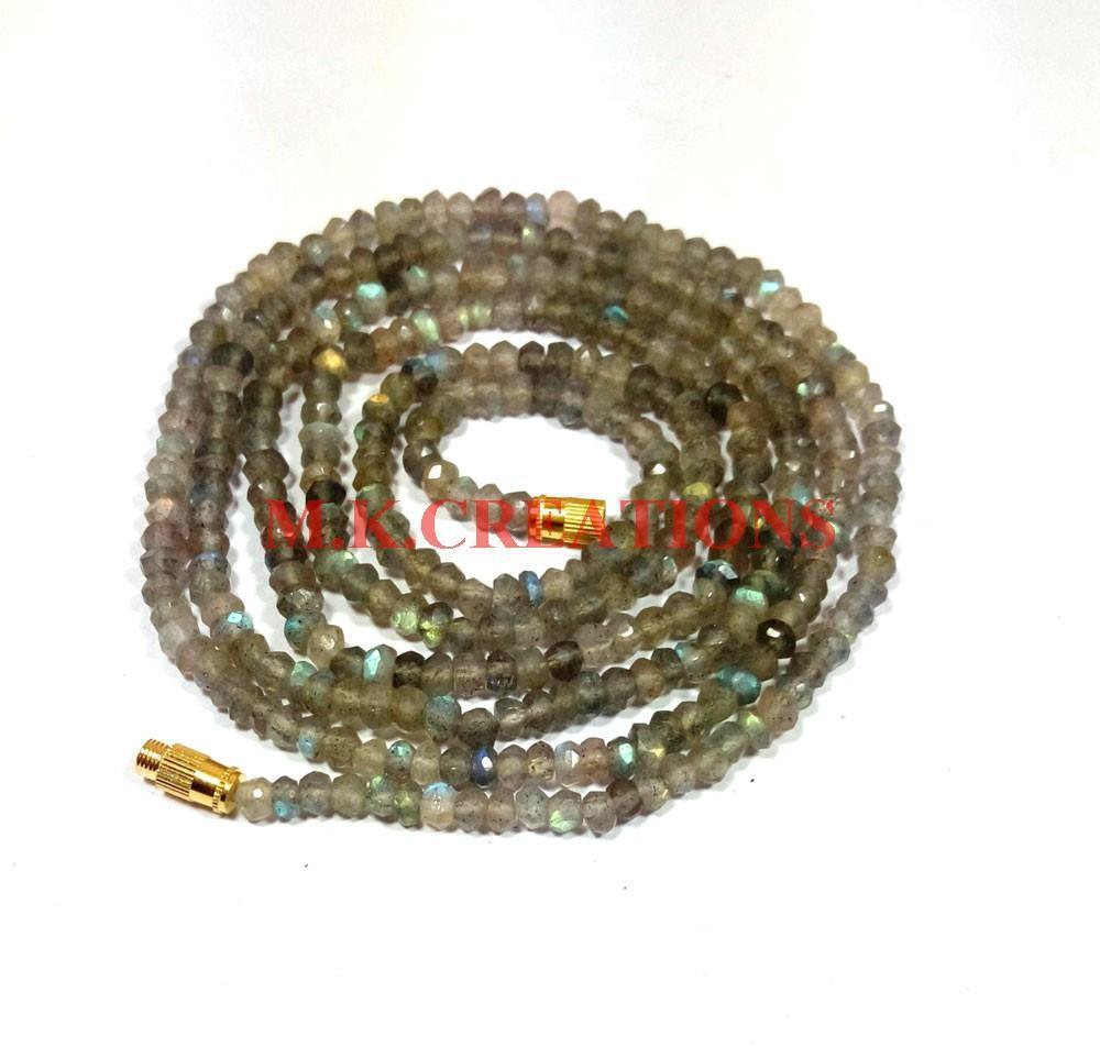 "Primary image for Natural Labradorite Gemstone 3-4mm Rondelle Faceted Beads 16"" Beaded Necklace"