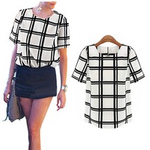 Fashion Women's Round Neck Short Sleeve Chiffon Plaid Check Loose Tops Grid T-Sh