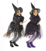 Set of 2 Good Luck Kitchen Hanging Witch on Broom Doll Purple ~ Black 17... - $39.00