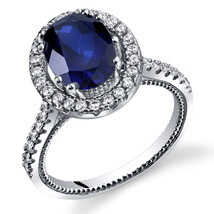 Women's Sterling Silver Blue Sapphire Oval Halo Ring with Milgrain Finish - $99.99