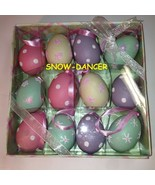 Easter Egg Shaped Ornaments Glitter Trim Pink Ribbon Loop For Hanging 12 - $39.99