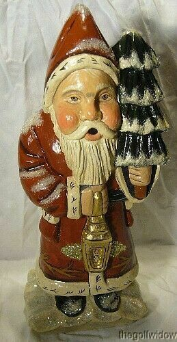 Vaillancourt Woodland Santa with Gold Lantern signed by Judi Vaillancourt