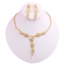 Necklace & Earrings Pendent Jewelry Set Wedding Party Costume Flower Pat... - €17,11 EUR