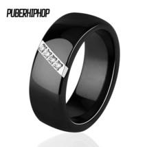2018 New 6MM 8MM Black White Pink One Slash Crystal Ceramic Ring For Women - $27.86