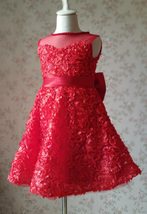 RED Flower Girl Wedding Dress Lace Bead Tea Length Red Wedding Dresses 4-16 image 10