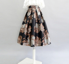 Black Midi Party Skirt with Pockets A-line Floral Black Party Skirt Outfit image 7