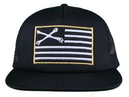 Dissizit! Black Mesh American Cross Bones Flag Trucker Baseball Hat