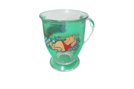 Disney Winnie The Pooh Anchor Hocking Glass Pedestal Coffee Mug Cup Bother Free - $12.86