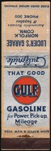 Vintage matchbook cover GULF GASOLINE Gulfpride Luciers Garage Norfolk Conn - $8.09