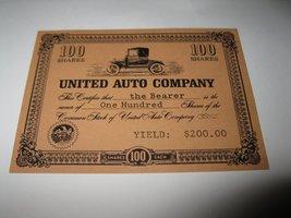 1964 Stocks & Bonds 3M Bookshelf Board Game Piece:  United Auto 100 Shares  - $1.00