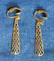 "Avon Vintage Gold-tone Mid Century Modern Filigree Drop Clip Earrings 1 3/4"" - $12.30"
