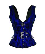 Blue Satin Black Net Shoulder Straps Gothic Burlesque Party Overbust Cor... - $69.29+