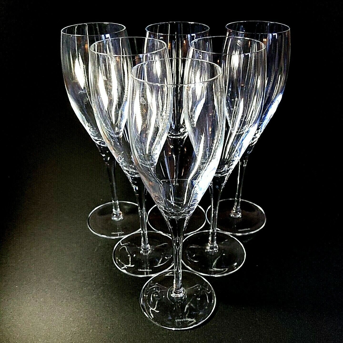 6 (Six) VILLEROY & BOCH TORINO Hand Blown Crystal Champagne Flutes D/C -Signed