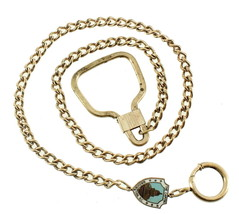 ANTIQUE DECO WASHINGTON DC ENAMEL WHITE HOUSE WATCH CHAIN FOB NECKLACE 1... - $113.39