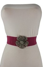 Cool Women Silver Metal Flower Buckle Fashion Elastic Pink Cute Belt Bling S M - $13.99